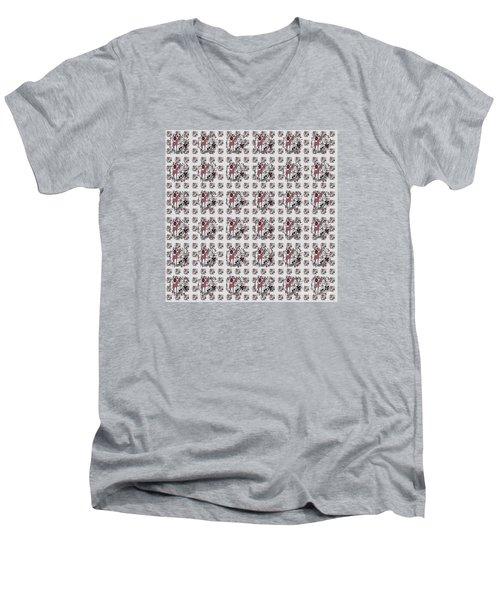 Colorful Giraffe Illustration Pattern Men's V-Neck T-Shirt by Saribelle Rodriguez