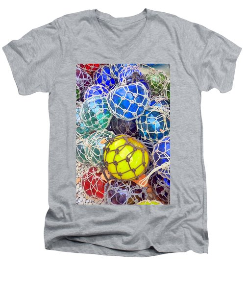 Colorful Glass Balls Men's V-Neck T-Shirt