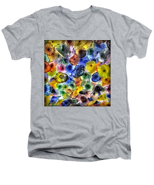 Colorful Glass Ceiling In Bellagio Lobby Men's V-Neck T-Shirt