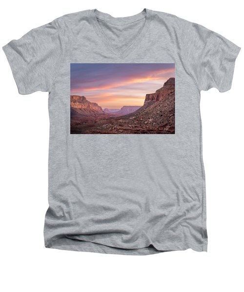 Colorful Havasupai Hike Men's V-Neck T-Shirt by Serge Skiba