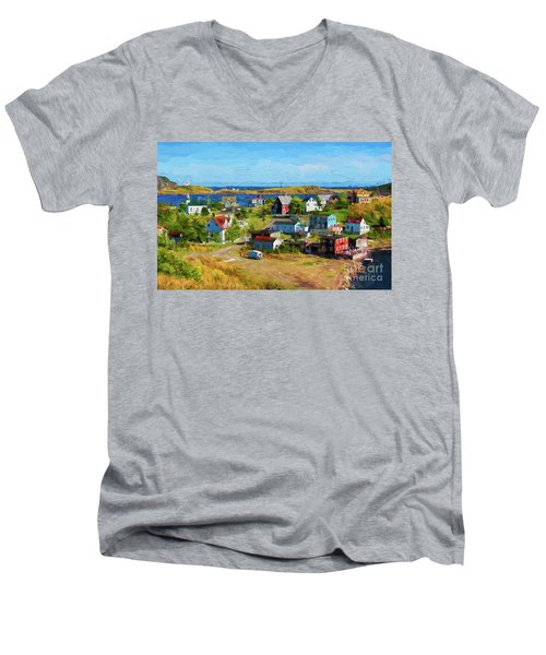 Colorful Homes In Trinity, Newfoundland - Painterly Men's V-Neck T-Shirt