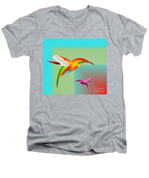 Colorful Hummingbirds Men's V-Neck T-Shirt