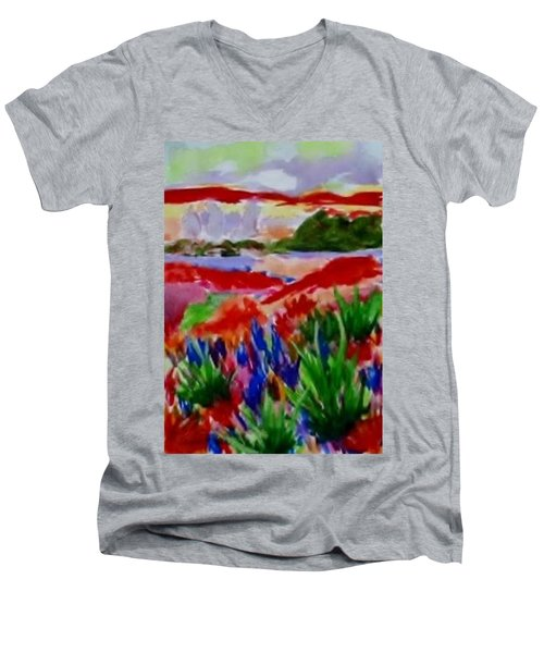 Men's V-Neck T-Shirt featuring the painting Colorful by Jamie Frier