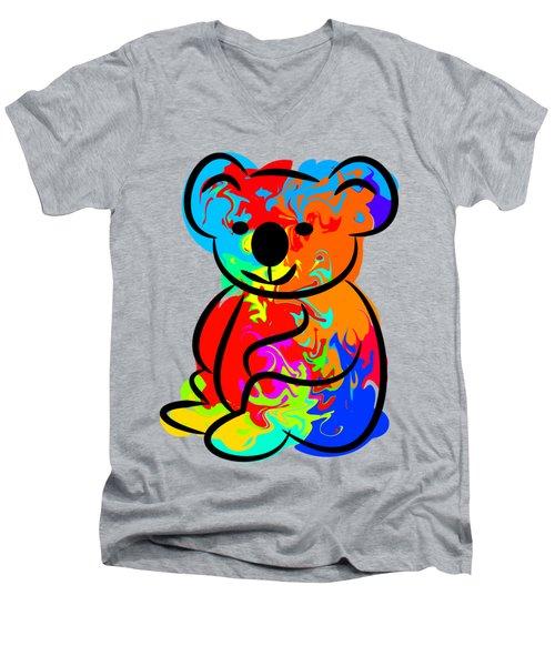 Colorful Koala Men's V-Neck T-Shirt by Chris Butler