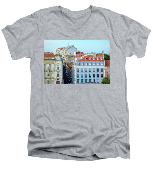 Colorful Lisbon Men's V-Neck T-Shirt by Marion McCristall
