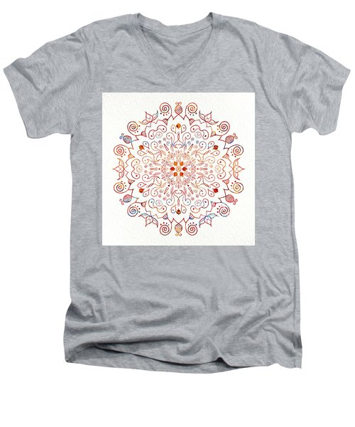 Colorful Mandala On Watercolor Paper Men's V-Neck T-Shirt by Patricia Lintner
