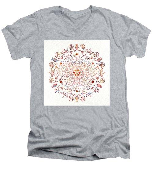 Colorful Mandala On Watercolor Paper Men's V-Neck T-Shirt
