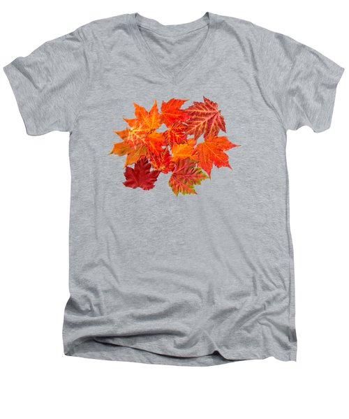 Colorful Maple Leaves Men's V-Neck T-Shirt by Christina Rollo