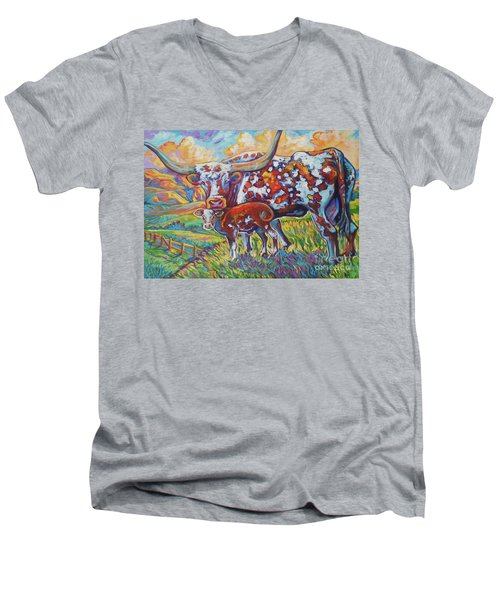 Men's V-Neck T-Shirt featuring the painting Colorful Momma by Jenn Cunningham