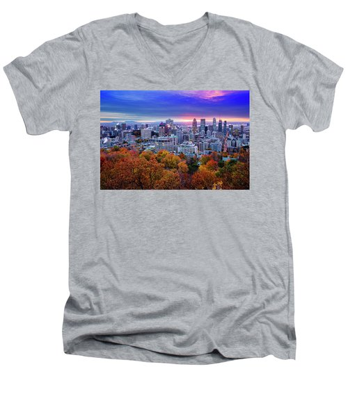 Men's V-Neck T-Shirt featuring the photograph Colorful Montreal  by Mircea Costina Photography