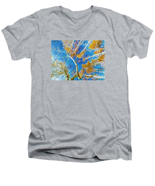 Colorful Mystical Forest Men's V-Neck T-Shirt by Odon Czintos