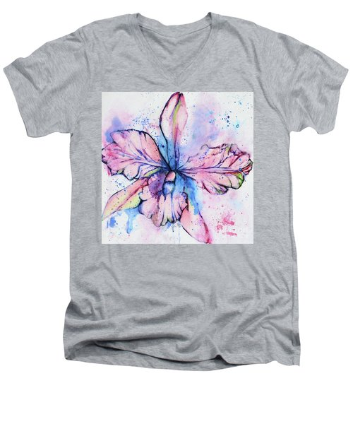 Colorful Orchid Flower Men's V-Neck T-Shirt