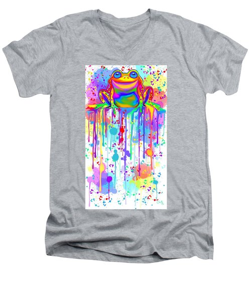 Men's V-Neck T-Shirt featuring the painting Colorful Painted Frog  by Nick Gustafson