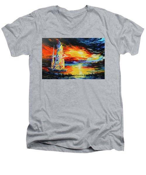 Colorful Sail Men's V-Neck T-Shirt