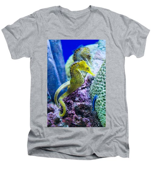 Colorful Seahorses Men's V-Neck T-Shirt