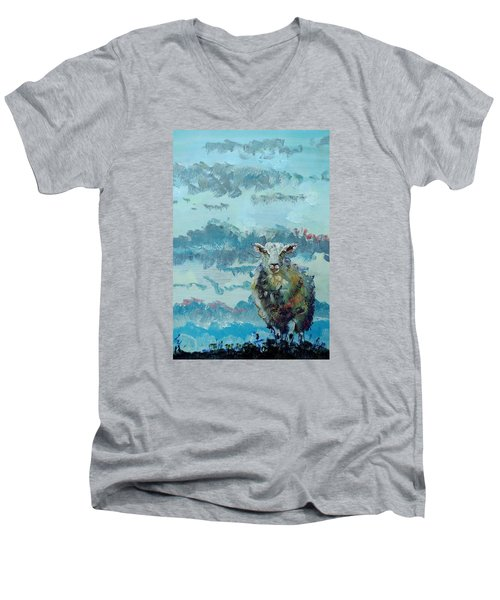 Colorful Sheep Art - Out Of The Stormy Sky Men's V-Neck T-Shirt