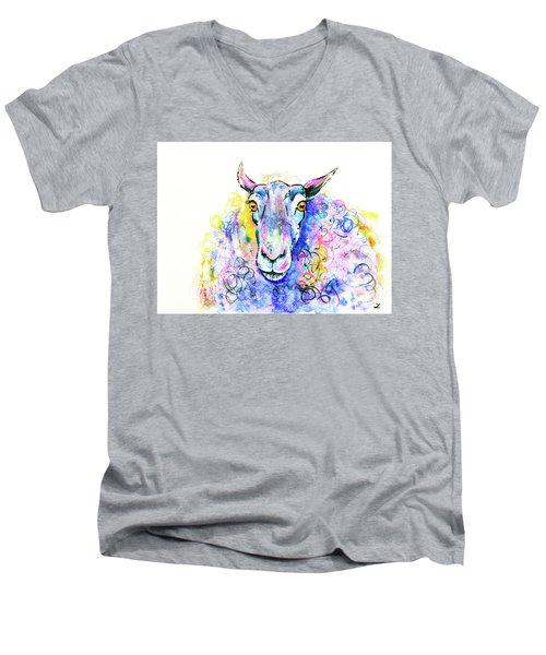Men's V-Neck T-Shirt featuring the painting Colorful Sheep by Zaira Dzhaubaeva