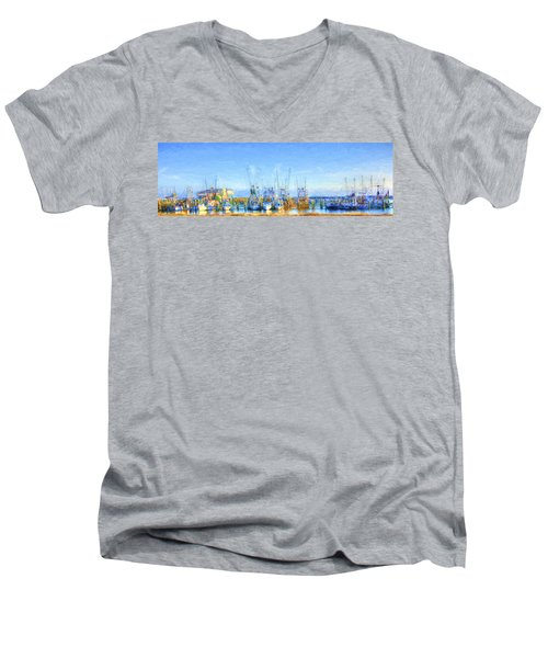 Colorful Shrimp Boat Harbor Pass Christian Ms Men's V-Neck T-Shirt