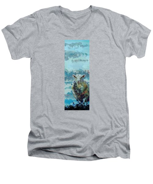 Colorful Sky And Sheep - Narrow Painting Men's V-Neck T-Shirt