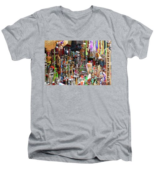 Colorful Space Men's V-Neck T-Shirt by Arik Baltinester
