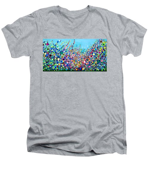 Men's V-Neck T-Shirt featuring the painting Colorful Spring Flowers by Maja Sokolowska
