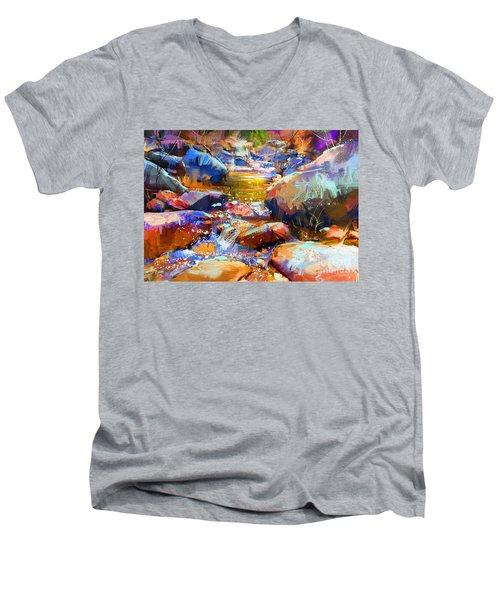 Colorful Stones Men's V-Neck T-Shirt