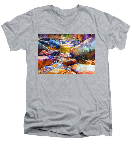 Colorful Stones Men's V-Neck T-Shirt