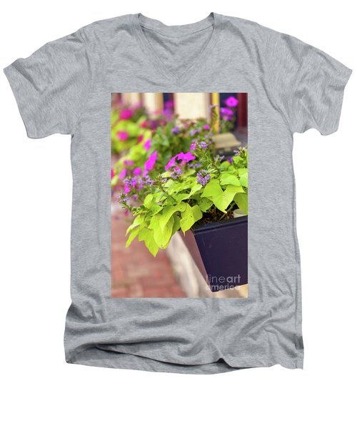 Colorful Summer Flowers In Window Box Men's V-Neck T-Shirt