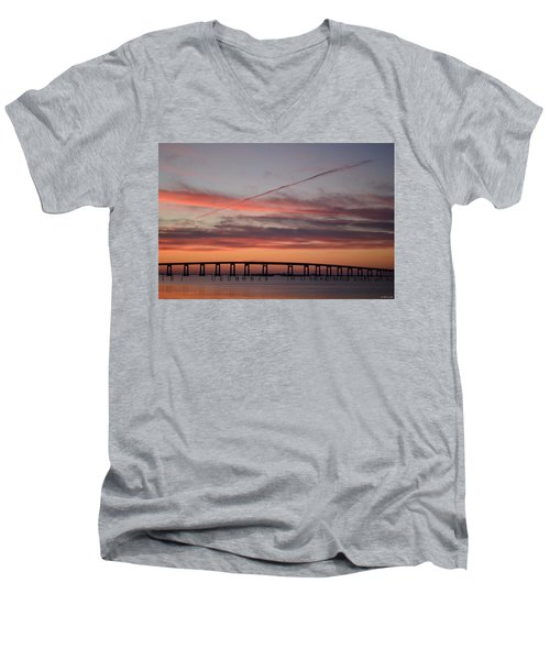 Colorful Sunrise Over Navarre Beach Bridge Men's V-Neck T-Shirt by Jeff at JSJ Photography
