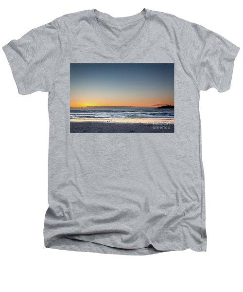 Colorful Sunset Over A Desserted Beach Men's V-Neck T-Shirt