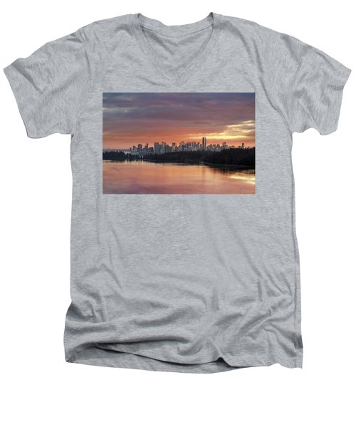 Colorful Sunset Over Vancouver Bc Downtown Skyline Men's V-Neck T-Shirt