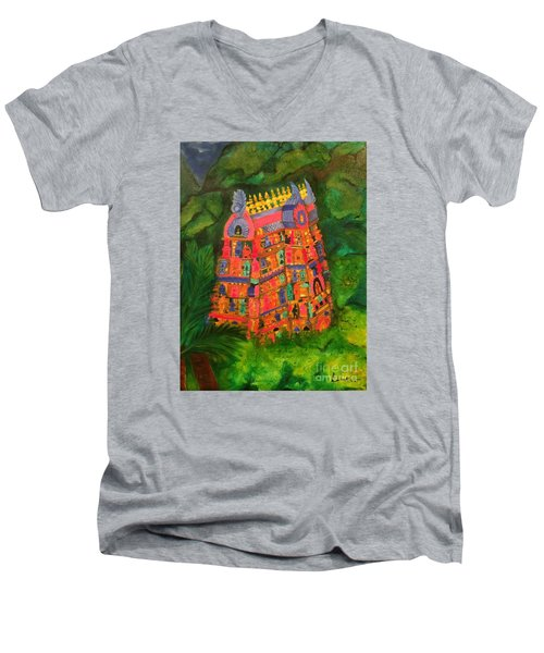 Men's V-Neck T-Shirt featuring the painting Colorful Temple Gopuram by Brindha Naveen