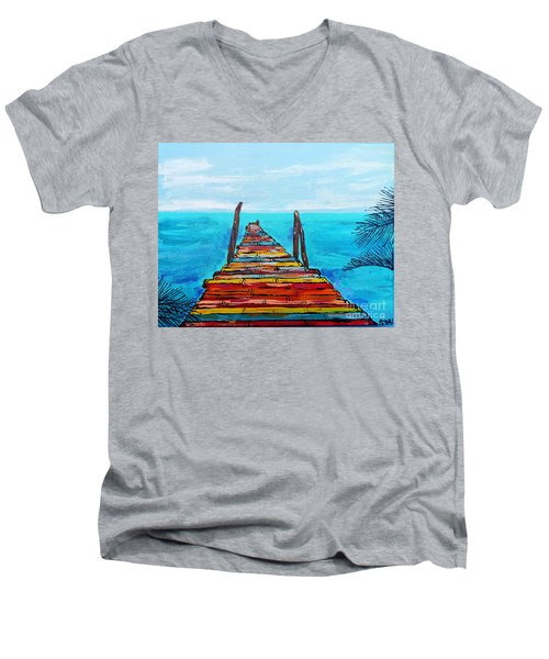 Colorful Tropical Pier Men's V-Neck T-Shirt
