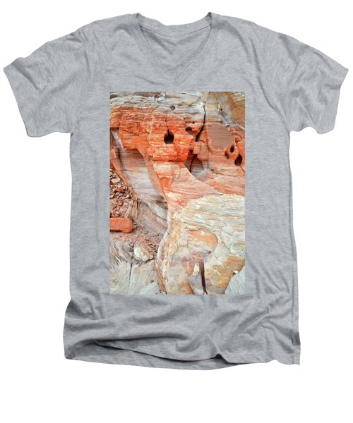 Men's V-Neck T-Shirt featuring the photograph Colorful Wall Of Sandstone In Valley Of Fire by Ray Mathis