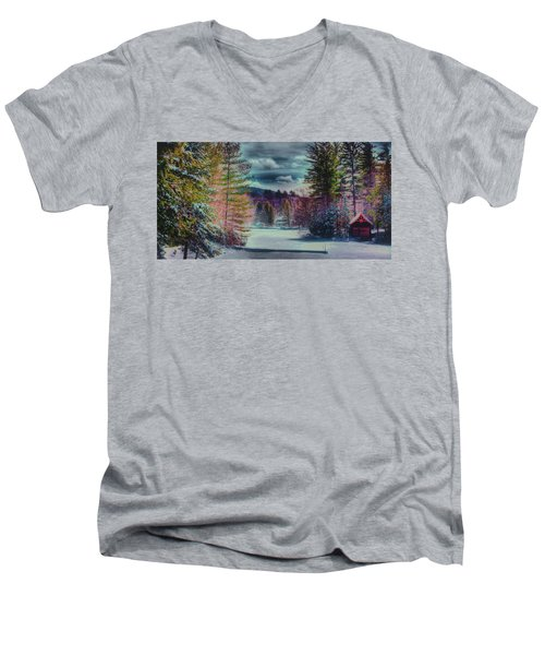 Men's V-Neck T-Shirt featuring the photograph Colorful Winter Wonderland by David Patterson
