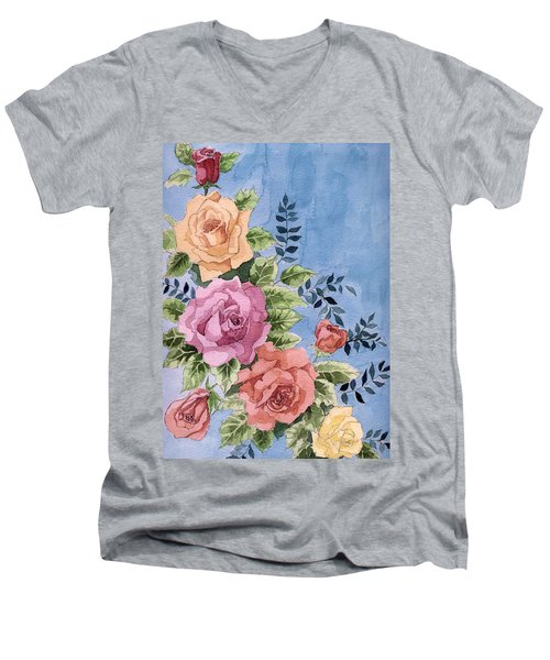 Colorfull Roses Men's V-Neck T-Shirt