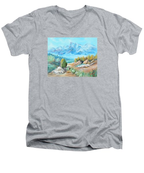 Colors In The High Desert Men's V-Neck T-Shirt by Lloyd Dobson
