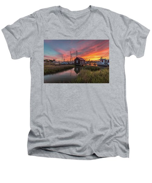 Men's V-Neck T-Shirt featuring the photograph Colors Of Shem Creek - Mt. Pleasant Sc by Donnie Whitaker