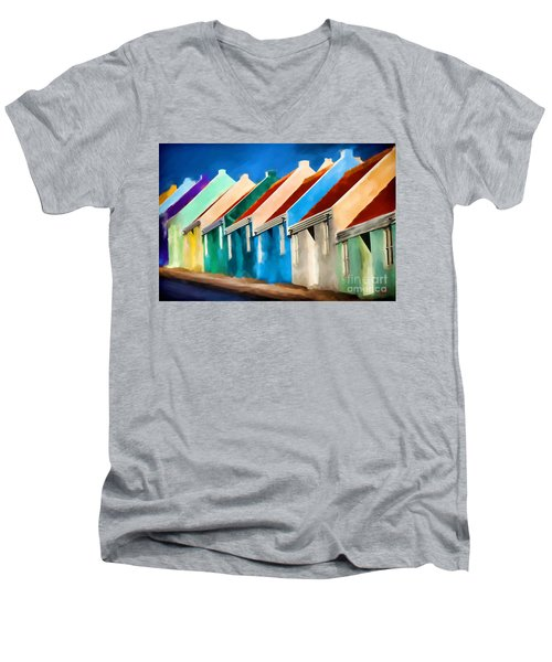 Coloured Men's V-Neck T-Shirt by Jim  Hatch