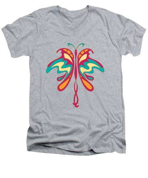 Colourful Art Nouveau Butterfly Men's V-Neck T-Shirt