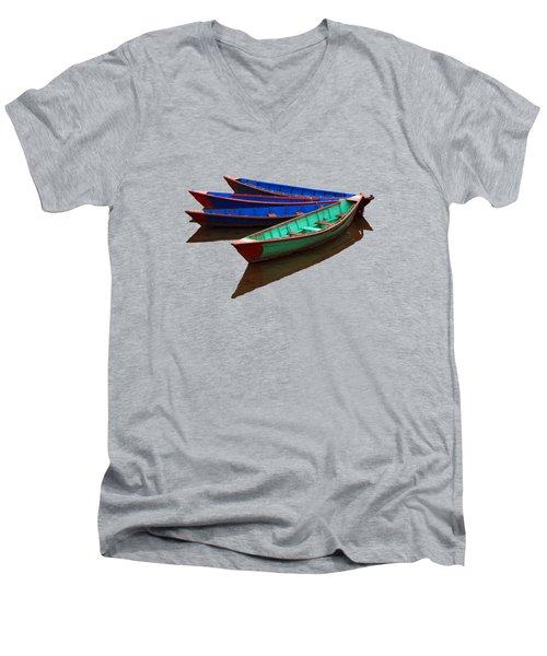 Nepalese Fishing Boats  Men's V-Neck T-Shirt