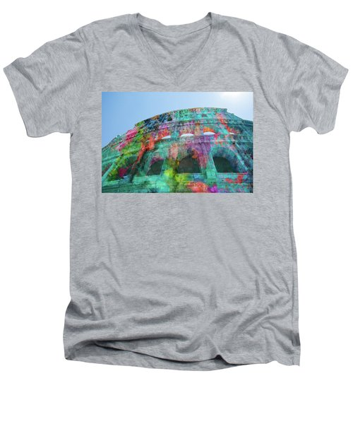 Men's V-Neck T-Shirt featuring the mixed media Colourful Grungy Colosseum In Rome by Clare Bambers