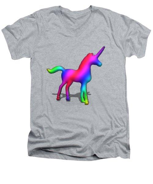 Colourful Unicorn In 3d Men's V-Neck T-Shirt by Ilan Rosen