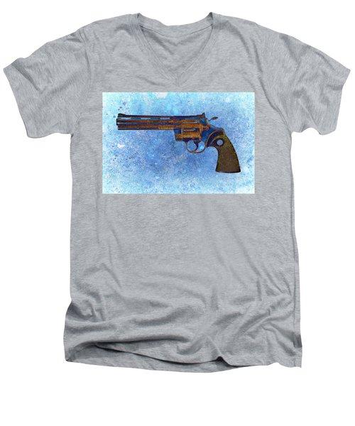 Colt Python 357 Mag On Blue Background. Men's V-Neck T-Shirt by M L C