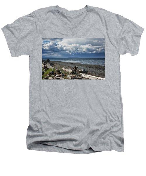 Columbia Beach Men's V-Neck T-Shirt by Randy Hall