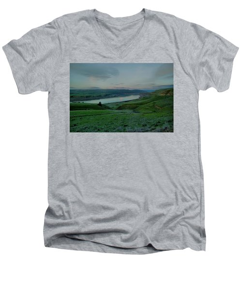 Men's V-Neck T-Shirt featuring the photograph Columbia Gorge In Early Spring by Jeff Swan