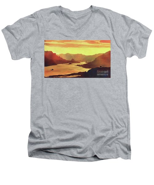 Men's V-Neck T-Shirt featuring the painting Columbia Gorge Scenery by Ryan Fox