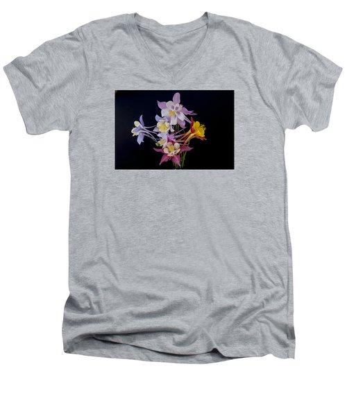 Columbine Medley Men's V-Neck T-Shirt by Gary Lengyel