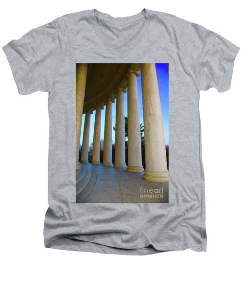 Columns At Jefferson Men's V-Neck T-Shirt by Megan Cohen