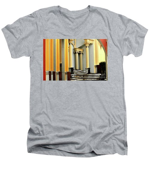 Columns At Plaza De Italia Men's V-Neck T-Shirt